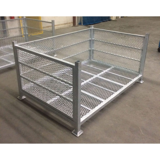 Galvanized stacking baskets
